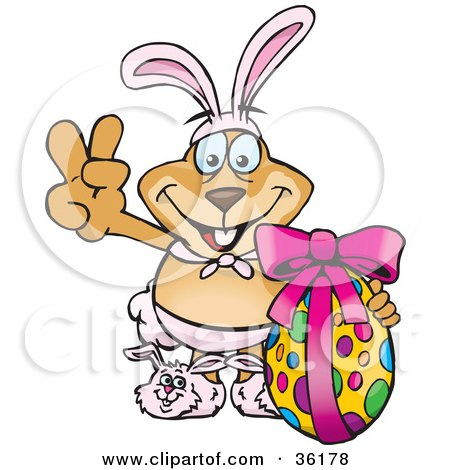 Clipart Illustration of a Dog Wearing Bunny Ears And Slippers, Signaling The Peace Sign And Standing With An Easter Egg by Dennis Holmes Designs