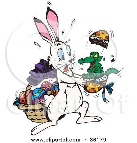 Clipart Illustration of a Alligator Hatching Out Of An Easter Egg, Scaring A White Rabbit by Dennis Holmes Designs