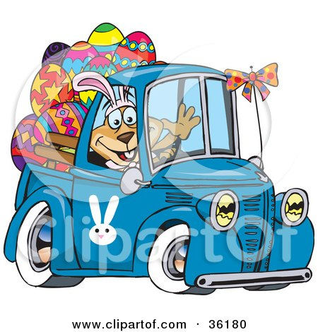 Clipart Illustration of a Dog Wearing Bunny Ears, Waving And Driving A Blue Pickup Truck With Easter Eggs In The Back by Dennis Holmes Designs