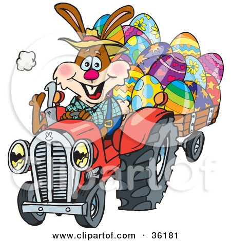 Clipart Illustration of a Bunny Rabbit Farmer Driving A Red Tractor And Transporting Easter Eggs In A Cart by Dennis Holmes Designs
