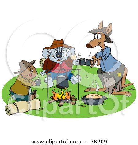 Wombat, Koala And Kangaroo Drinking Coffee And Keeping Warm By A Campfire Posters, Art Prints
