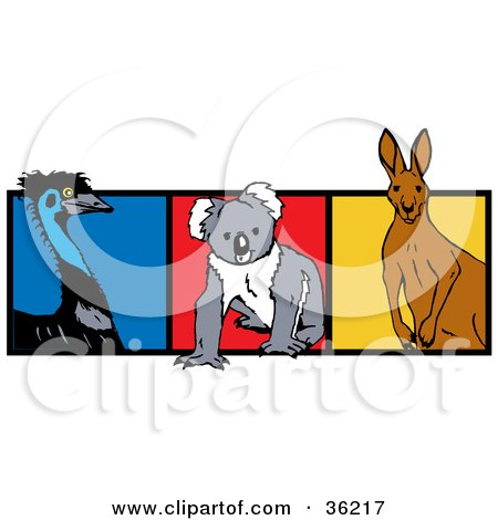 Clipart Illustration of an Emu Bird, Koala And Kangaroo With Blue, Red And Yellow Squares by Dennis Holmes Designs