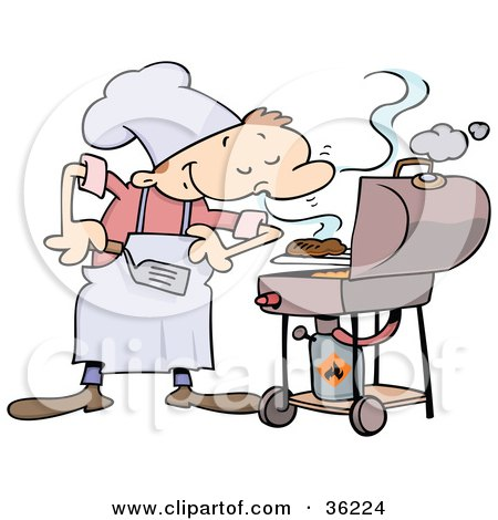 Clipart Illustration of a Pleased Male Chef Smelling His Burgers On A Grill by gnurf