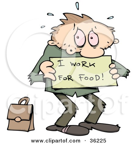 Clipart Illustration of a Stressed And Jobless Caucasian Man Holding A Sign Reading I Work For Food, With His Briefcase Behind Him by gnurf