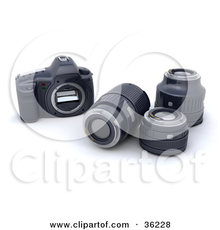 Clipart Illustration of Three Camera Lenses Resting Beside A Body by KJ Pargeter
