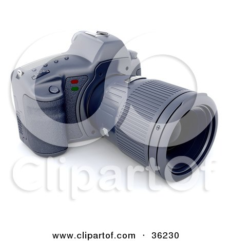 Clipart Illustration of a Digital Camera With A Telephoto Lens by KJ Pargeter