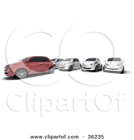 Clipart Illustration of a Row Of Silver Cars Parked Behind A Red One by KJ Pargeter