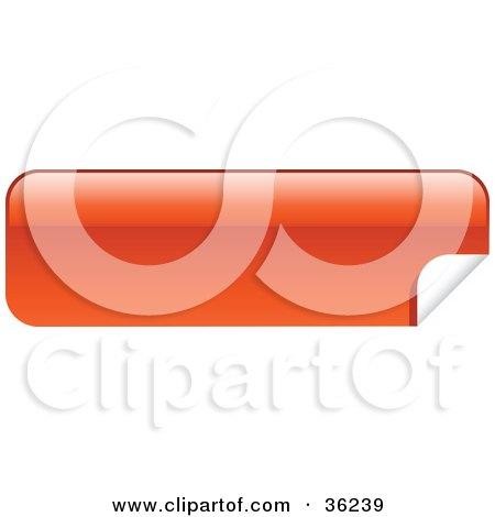 Clipart Illustration of a Long, Orange-Red, Blank, Peeling Sticker Or Label by KJ Pargeter