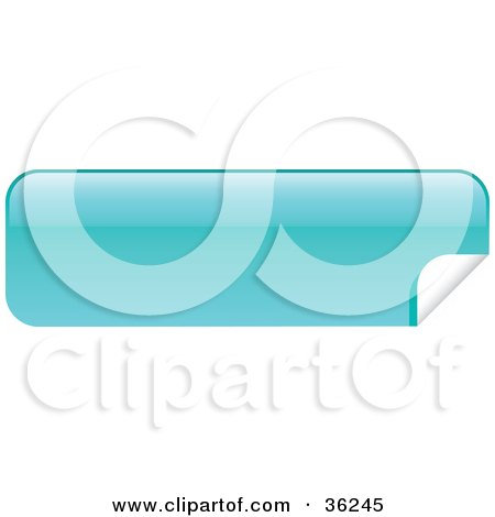 Clipart Illustration of a Long, Light Blue, Blank, Peeling Sticker Or Label by KJ Pargeter