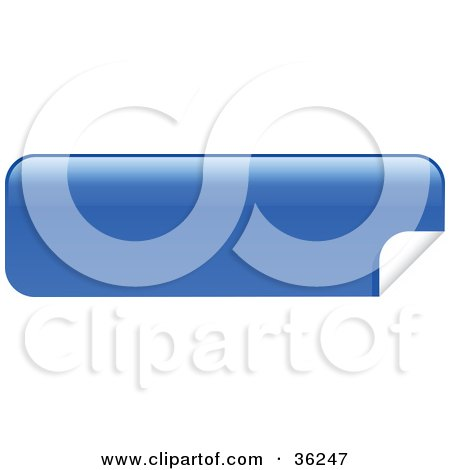 Clipart Illustration of a Long, Blue, Blank, Peeling Sticker Or Label by KJ Pargeter
