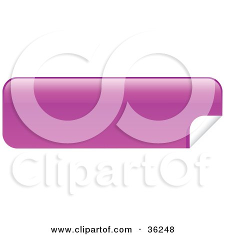 Clipart Illustration of a Long, Pink, Blank, Peeling Sticker Or Label by KJ Pargeter