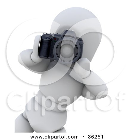 Clipart Illustration of a Photographer 3d White Character Leaning Inwards To Snap A Photo by KJ Pargeter