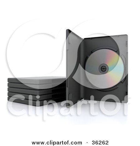 Clipart Illustration of a DVD In A Case, Standing Up Beside Stacked Cases by KJ Pargeter