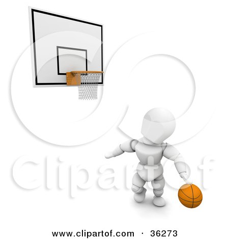 Clipart Illustration of a 3d White Character With A Basketball, Looking Up At A Hoop by KJ Pargeter