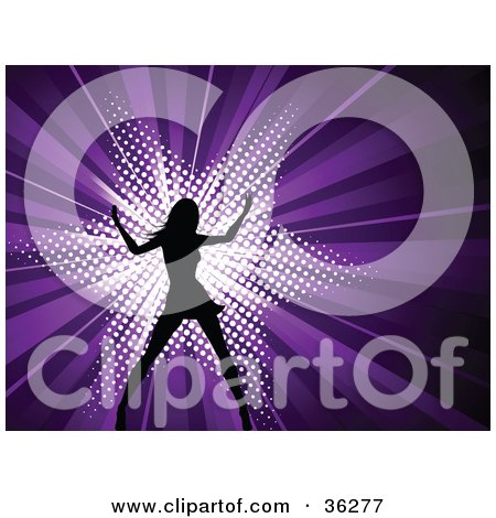 Clipart Illustration of a Sexy Black Silhouetted Woman Dancing In Front Of A Bursting Purple Background With A White Star by KJ Pargeter