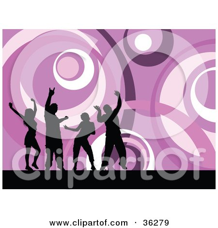 Clipart Illustration of Four Black Silhouetted Ladies And Guys Dancing Over A Funky Purple Circle Background by KJ Pargeter