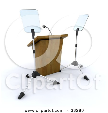 Clipart Illustration of a Deserted Podium With Tripods by KJ Pargeter