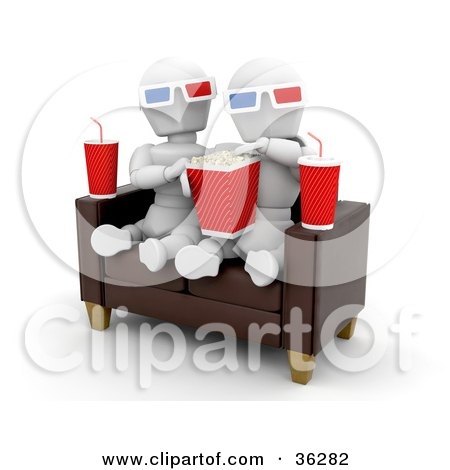 Clipart Illustration of a White Character Couple On A Sofa, Eating Popcorn And Watching A 3d Movie With Sodas At Their Sides by KJ Pargeter