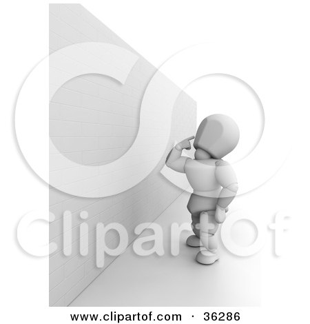 Clipart Illustration of a 3d White Character In Thought, Looking Up An An Obstacle Wall by KJ Pargeter