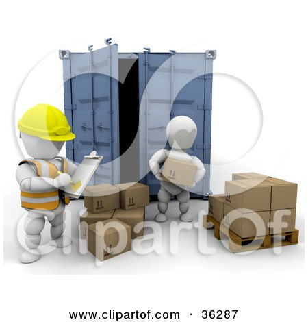 Clipart Illustration of a 3d White Character Supervisor In A Safety Vest, Watching Over A Worker  As He Unloads Boxes by KJ Pargeter