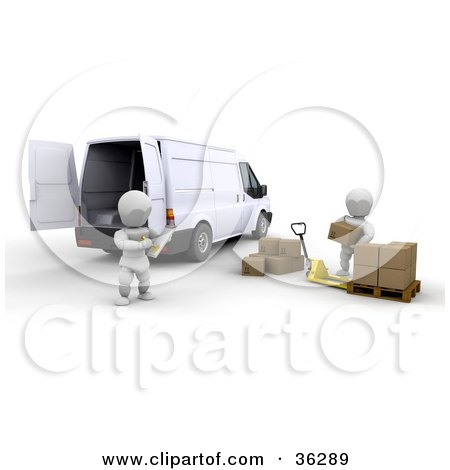 Clipart Illustration of a Stern White Character Supervisor Watching One Of His Crew Load Shipping Boxes Into A Van by KJ Pargeter