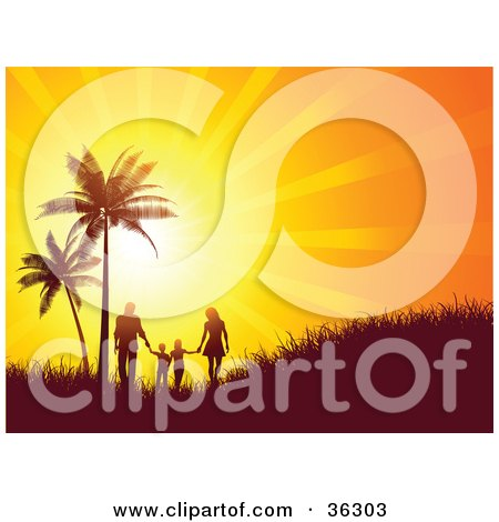 Clipart Illustration of a Bright Orange Sunset Burst Silhouetting A Family Walking And Holding Hands Near Palm Trees On A Grassy Hill by KJ Pargeter