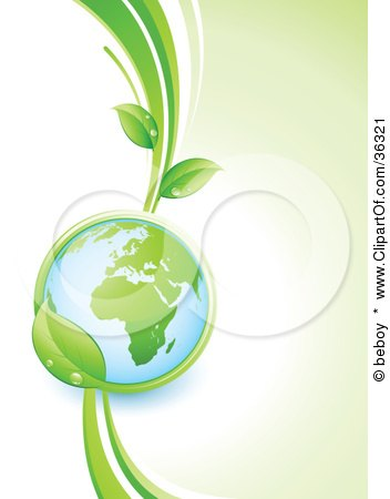 Clipart Illustration of a Shiny Globe In The Grasp Of A Lush Green Leafy Vine, Showing The African Continent by beboy