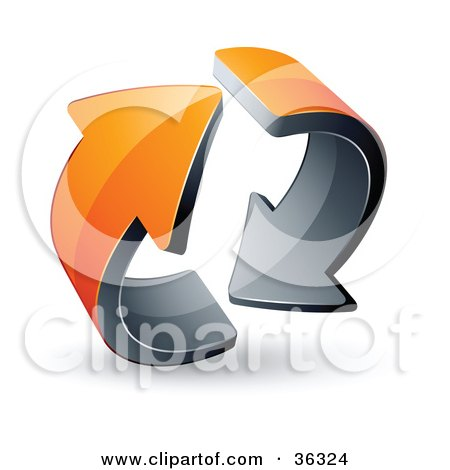 Clipart Illustration of a Pre-Made Logo Of Two Circling Orange Arrows by beboy