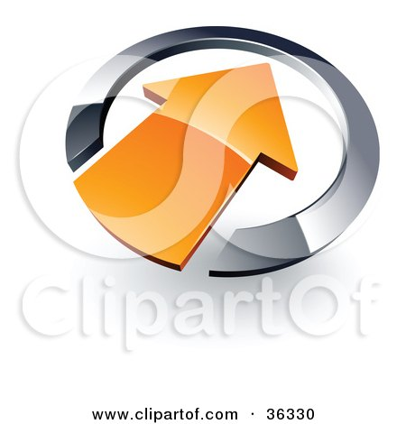 Clipart Illustration of a Pre-Made Logo Of An Orange Arrow Pointing Inwards In A Chrome Circle by beboy