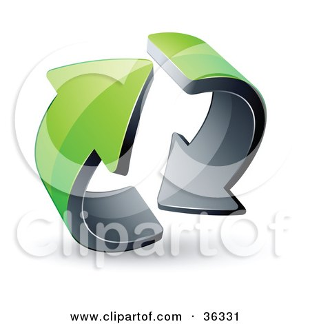 Clipart Illustration of a Pre-Made Logo Of Two Circling Green Arrows by beboy
