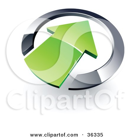Clipart Illustration of a Pre-Made Logo Of A Green Arrow Pointing Inwards In A Chrome Circle by beboy