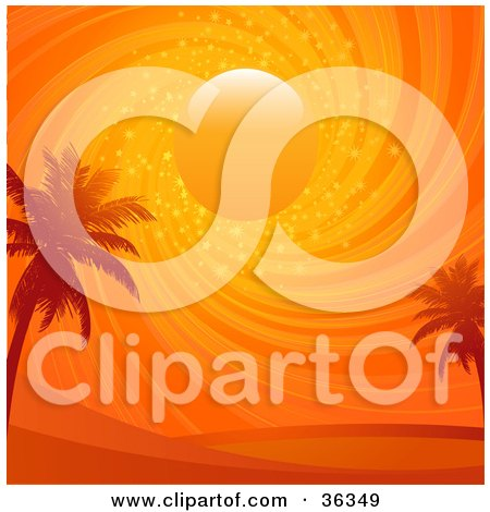 Clipart Illustration of Two Palm Trees Silhouetted Under A Swirling, Sparkling Orange Sunset Sky by elaineitalia