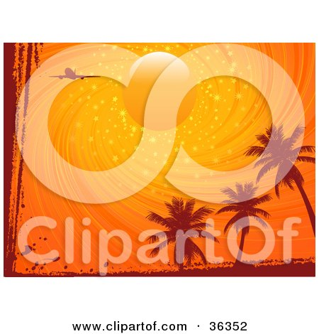 Clipart Illustration of a Silhouetted Plane Flying In A Magical Swirling Orange Sunset Sky Over Palm Trees, Bordered With Grunge by elaineitalia
