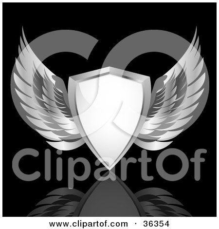 Clipart Illustration of a Heraldic White Shield With Chrome Wings, Over A Reflective Black Background by elaineitalia