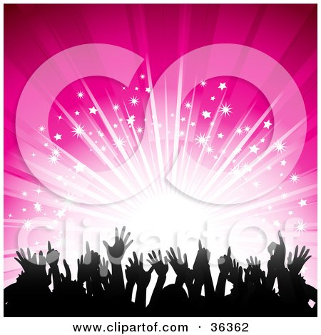 Clipart Illustration Of A Bright Burst Of Light On A Pink Background Silhouetting A Crowd Of Hands