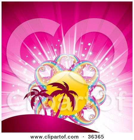 Clipart Illustration of Palm Trees Silhouetted Against A Bursting Pink Background With A Rainbow Sun by elaineitalia
