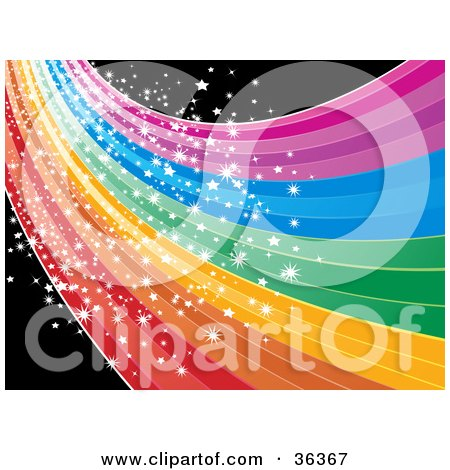 Clipart Illustration of a Magical Sparkling Rainbow Wave Or Road Over Black by elaineitalia