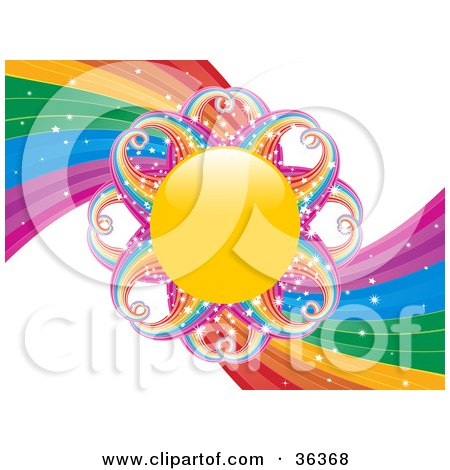 Clipart Illustration of a Sun With Sparkling Rainbow Rays, In The Center Of A Rainbow Swirl by elaineitalia
