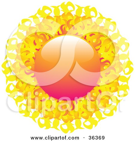 Clipart Illustration of a Fiery Orange And Yellow Sun With Flaming Rays by elaineitalia