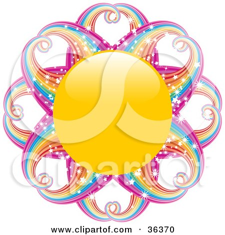 Clipart Illustration of a Yellow Sun With Magical, Sparkling Rainbow Rays by elaineitalia