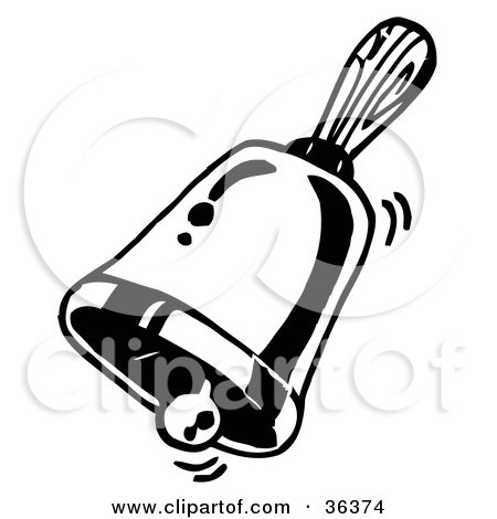 Clipart Illustration of a Ringing Handheld Bell by LoopyLand
