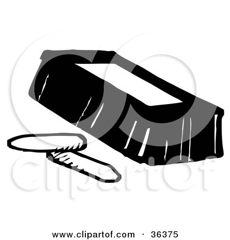 clipart illustration of a black and white eraser with two pieces of chalk by loopyland 36375 clipart of