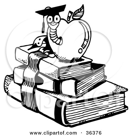 Clipart Illustration of a Graduate Worm Emerging From An Apple Atop School Books by LoopyLand