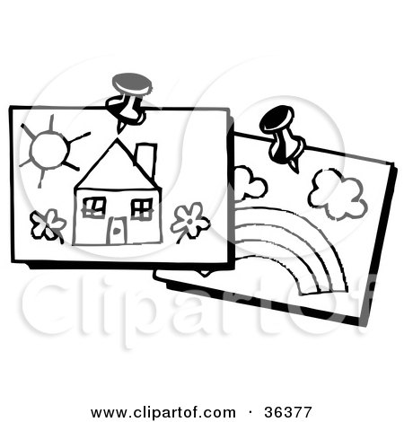 Clipart Illustration of Two Piece Of Children's Art Of A House And A Rainbow, Tacked Up On A Wall by LoopyLand