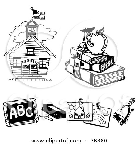 Clipart Illustration of a School House, Book Worm, Chalk And