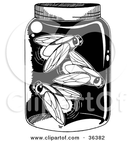 Clipart Illustration of a Trapped Glowing Firefly Lightning Bugs In A Jar by LoopyLand