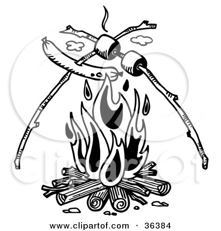 Clipart Illustration of a Weenie And Marshmallows On Sticks, Roasting Over A Camp Fire by LoopyLand
