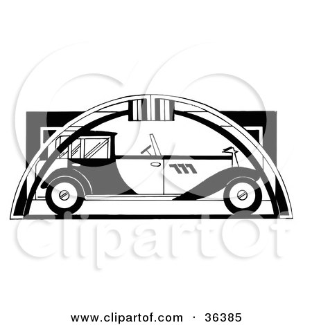 Clipart Illustration of a Black And White Vintage Automobile Under An Arch by LoopyLand