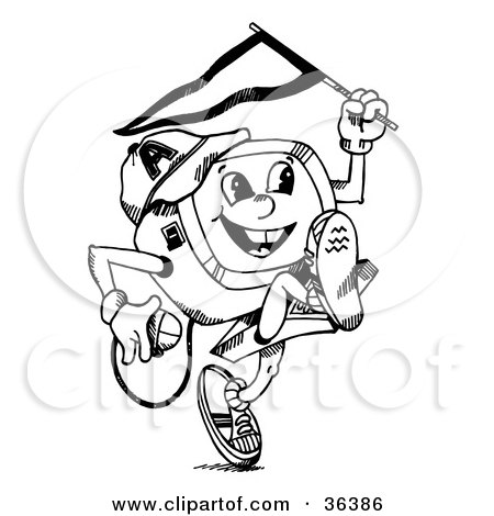Happy Child Desktop Computer Running With A Flag In One Hand And Mouse In The Other Posters, Art Prints
