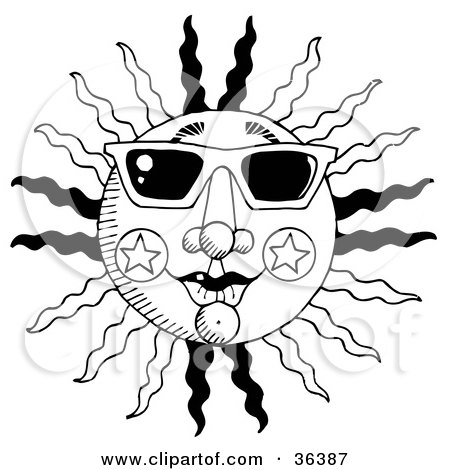 Black And White Summer Sun With Rays And Star Designs, Wearing Shades Posters, Art Prints